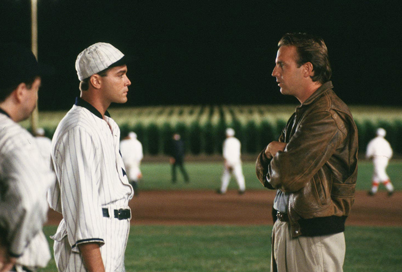 "Ray Liotta, as ""Shoeless"" Joe Jackson, and Kevin Costner in ""Field of Dreams."""