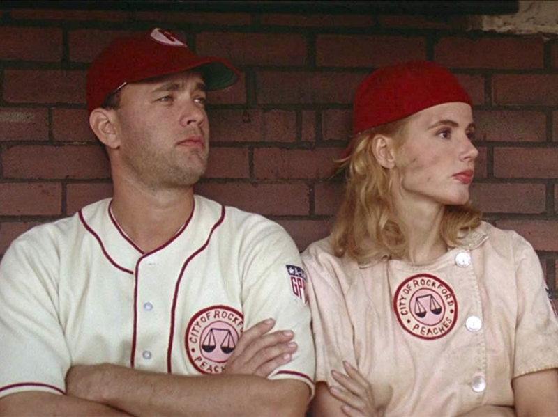 "Tom Hanks and Geena Davis in ""A League of Their Own."""