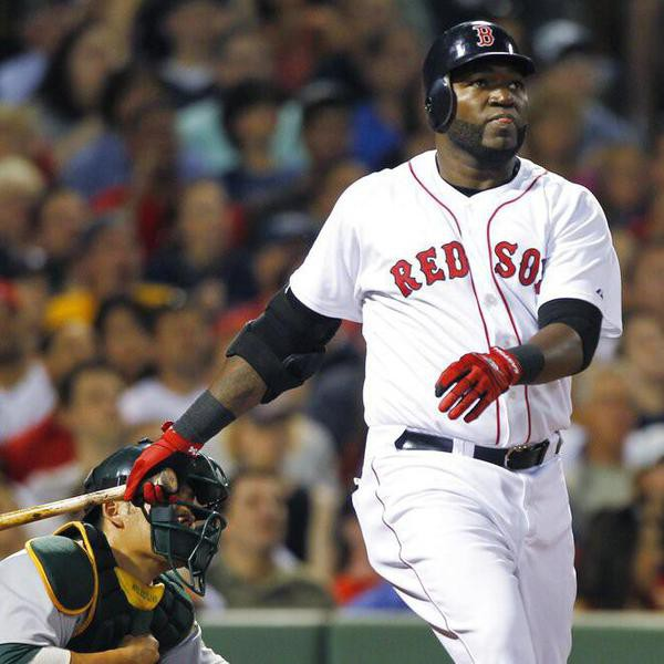 Boston Red Sox designated hitter David Ortiz watches the flight of his two-run home run off Oakland Athletics pitcher Ben Sheets during the fifth inning of a baseball game at Fenway Park in Boston, Wednesday, June 2, 2010.(AP Photo/Charles Krupa)