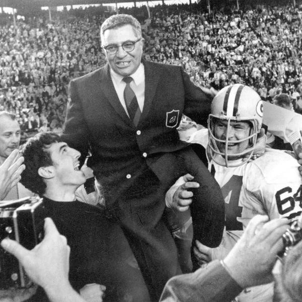 ** FILE ** Green Bay Packers coach Vince Lombardi is carried off the field after his team defeated the Oakland Raiders 33-14 in Super Bowl II in Miami, Fla., in this Jan. 14, 1968 file photo. Packers guard Jerry Kramer (64) is at right. (AP Photo)