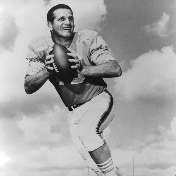 Houston Oilers quarterback, George Blanda, is seen in this posed action shot from October 18, 1966, in Houston, Texas.