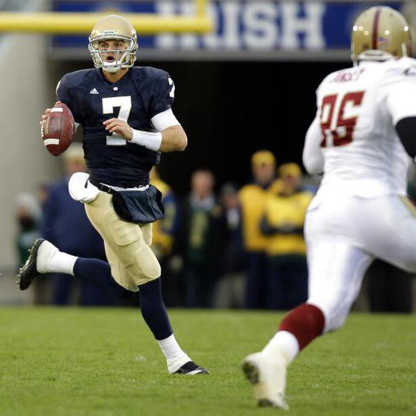 Notre Dame quarterback Jimmy Clausen during an NCAA college football game against Boston College in South Bend, Ind., Saturday, Oct. 24, 2009. Notre Dame defeated Boston Colege 20-16. (AP Photo/Michael Conroy)